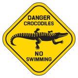 Segno del pericolo del coccodrillo illustrazione vettoriale
