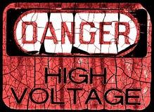 Segno del pericolo di Grunge Fotografia Stock