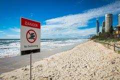 Il pericolo nessun nuoto Fotografia Stock Libera da Diritti
