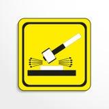 Segno del pericolo Impatto di lavoro smantellamento Innesta l'icona Fotografia Stock
