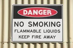 Segno del pericolo non fumatori alla costruzione all'aperto Fotografia Stock