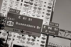 Segno del ponticello di Queensboro Fotografia Stock