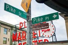 Segno del posto del luccio al mercato pubblico famoso a Seattle Fotografia Stock Libera da Diritti