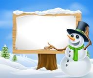 Segno del pupazzo di neve di natale Fotografia Stock Libera da Diritti