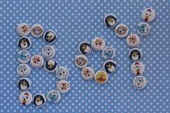 Segno del ragazzo con i bottoni dei bambini Annuncio del bambino Pois blu b Fotografia Stock Libera da Diritti