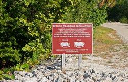 Segno del rifugio del granchio, Florida fotografie stock libere da diritti