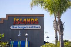 Segno del ristorante delle isole fotografie stock