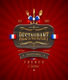 Segno del ristorante francese con la decorazione dorata Fotografia Stock