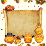 Segno del rotolo del fondo di Halloween con fogliame e l'arancia scolpita royalty illustrazione gratis