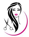 Segno del salone di capelli con la donna e le forbici graziose illustrazione di stock