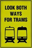 Segno del sistema del tram della linea tranviaria Fotografia Stock Libera da Diritti