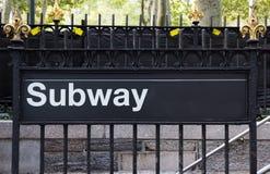 Segno del sottopassaggio di New York City Fotografia Stock Libera da Diritti