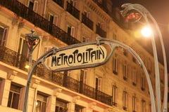 Segno del sottopassaggio di Parigi Fotografie Stock Libere da Diritti