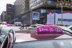 Segno del taxi di Belgrado Fotografie Stock
