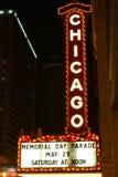 Segno del teatro del Chicago alla notte Immagini Stock