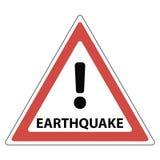 Segno del terremoto, del punto esclamativo rosso del triangolo e del terremoto del testo, illustrazione di stock