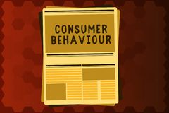 Segno del testo che mostra comportamento del consumatore Decisioni concettuali della foto che la gente prende per comprare o per  illustrazione di stock