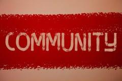Segno del testo che mostra Comunità Messaggi concettuali p rossa di idee del gruppo di unità di Alliance di affiliazione dello st Fotografia Stock Libera da Diritti