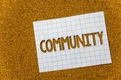 Segno del testo che mostra Comunità Nota di fondo concettuale del sughero del gruppo di unità di Alliance di affiliazione dello s Fotografia Stock