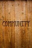 Segno del testo che mostra Comunità Woode concettuale dei messaggi di idee del gruppo di unità di Alliance di affiliazione dello  Immagini Stock Libere da Diritti