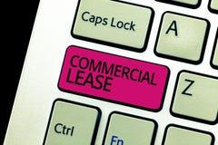 Segno del testo che mostra contratto d'affitto commerciale La foto concettuale si riferisce alle costruzioni o alla terra progett immagine stock