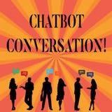Segno del testo che mostra conversazione di Chatbot Foto concettuale che chiacchiera con l'intelligenza artificiale di aiuto virt illustrazione di stock