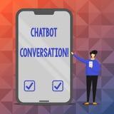 Segno del testo che mostra conversazione di Chatbot Foto concettuale che chiacchiera con l'intelligenza artificiale di aiuto virt illustrazione vettoriale