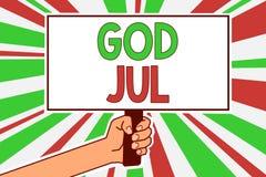 Segno del testo che mostra Dio luglio Il Buon Natale concettuale della foto che accoglie la gente per le feste felici del nuovo a Fotografia Stock