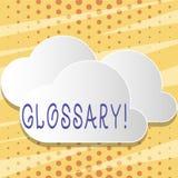 Segno del testo che mostra glossario Elenco della foto concettuale di termini alfabetico con lo spazio in bianco di descrizioni d royalty illustrazione gratis