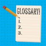 Segno del testo che mostra glossario L'elenco della foto concettuale di termini alfabetico con le descrizioni di vocabolario di s illustrazione di stock