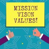 Segno del testo che mostra i valori di Vison di missione Pianificazione concettuale della foto per le giuste decisioni di carrier royalty illustrazione gratis