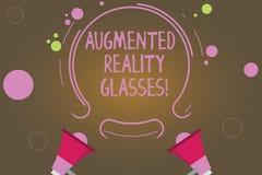 Segno del testo che mostra i vetri aumentati di realtà Megafono personale del sistema due di rappresentazione della foto di Digit illustrazione di stock