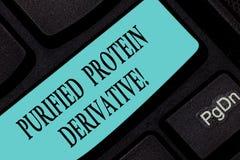 Segno del testo che mostra il derivato purificato della proteina Foto concettuale l'estratto di chiave di tastiera di mycobacteri immagine stock