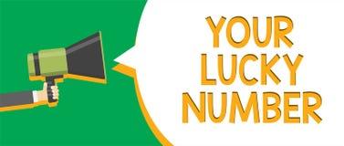 Segno del testo che mostra il vostro Lucky Number Foto concettuale che crede nell'annuncio a di indicazione del casinò di probabi illustrazione di stock