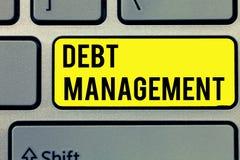 Segno del testo che mostra la gestione di debito Foto concettuale l'accordo ufficiale fra un debitore e un creditore fotografie stock