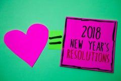 Segno del testo che mostra le risoluzioni di 2018 nuovi anni La lista concettuale della foto degli scopi o gli obiettivi da esser Fotografia Stock Libera da Diritti