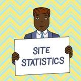 Segno del testo che mostra le statistiche del sito Misura concettuale della foto di comportamento degli ospiti all'uomo sorrident illustrazione vettoriale