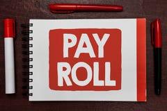 Segno del testo che mostra libro paga Quantità concettuale della foto di stipendi e salari pagati da una società al suo highl imp Immagine Stock