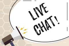 Segno del testo che mostra Live Chat Conversazione concettuale della foto sulla comunicazione su mezzi mobili di multimedia di In royalty illustrazione gratis