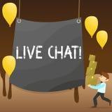 Segno del testo che mostra Live Chat La conversazione in tempo reale di media della foto concettuale online comunica il mucchio d royalty illustrazione gratis