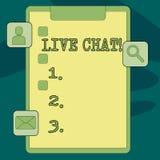 Segno del testo che mostra Live Chat La conversazione in tempo reale di media della foto concettuale online comunica la lavagna p royalty illustrazione gratis