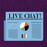 Segno del testo che mostra Live Chat La conversazione in tempo reale di media della foto concettuale online comunica la progettaz illustrazione di stock