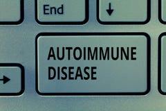 Segno del testo che mostra malattia autoimmune Anticorpi insoliti della foto concettuale che mirano ai loro propri tessuti del co immagini stock