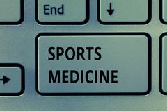 Segno del testo che mostra medicina dello sport Il trattamento della foto e la prevenzione concettuali delle lesioni si sono rife immagini stock