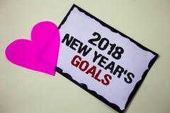 Segno del testo che mostra a 2018 nuovi anni gli scopi Lista di risoluzione della foto delle cose che concettuale volete raggiung Immagine Stock