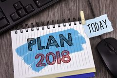 Segno del testo che mostra piano 2018 Scopi provocatori di idee della foto concettuale affinchè motivazione del nuovo anno inizin Fotografie Stock