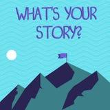 Segno del testo che mostra a che S il vostro Storyquestion Foto concettuale che dice narrazione demonstratingal di esperienze pre royalty illustrazione gratis