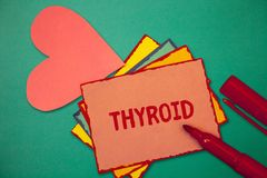 Segno del testo che mostra tiroide La ghiandola concettuale della foto in collo secerne gli ormoni che regolano la crescita e svi fotografia stock