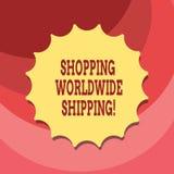 Segno del testo che mostra trasporto mondiale di compera Foto concettuale direttamente comprare online con lo spazio in bianco di illustrazione di stock