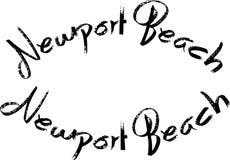 Segno del testo della spiaggia di Newport Fotografia Stock Libera da Diritti